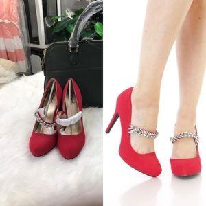 Shoes - 🆕️Red Round Close Toe High Heels Rhinestone Pumps